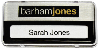 Reusable plastic name badges - Clear border and brushed silver / black background | www.namebadgesinternational.ie
